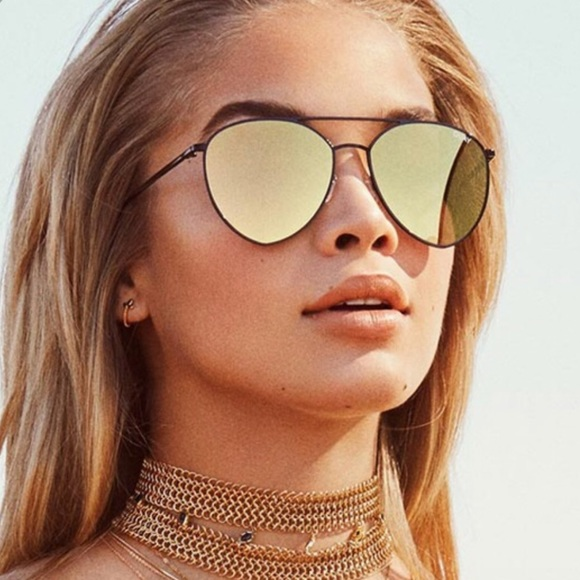 bda76ed517 QUAY Australia Indio Black Gold Mirror Sunglasses